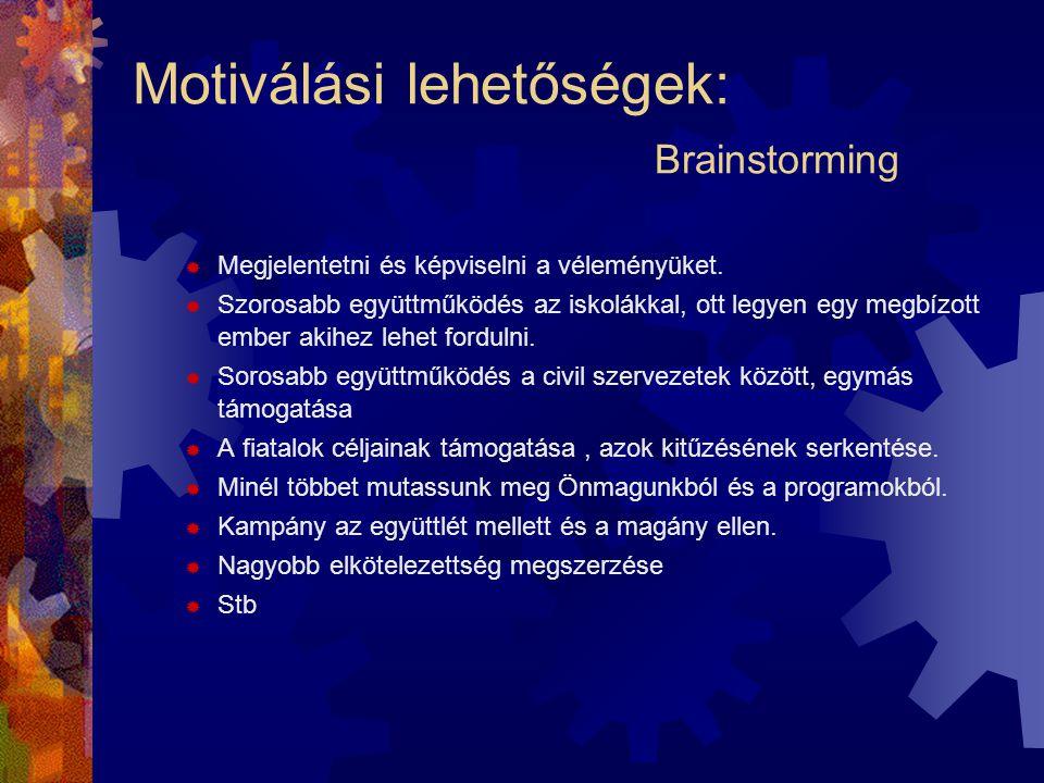 Motiválási lehetőségek: Brainstorming  Megjelentetni és képviselni a véleményüket.  Szorosabb együttműködés az iskolákkal, ott legyen egy megbízott