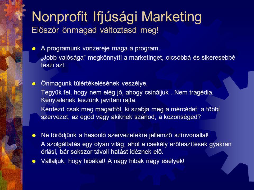 """Nonprofit Ifjúsági Marketing Először önmagad változtasd meg!  A programunk vonzereje maga a program. """"Jobb valósága"""" megkönnyíti a marketinget, olcsó"""