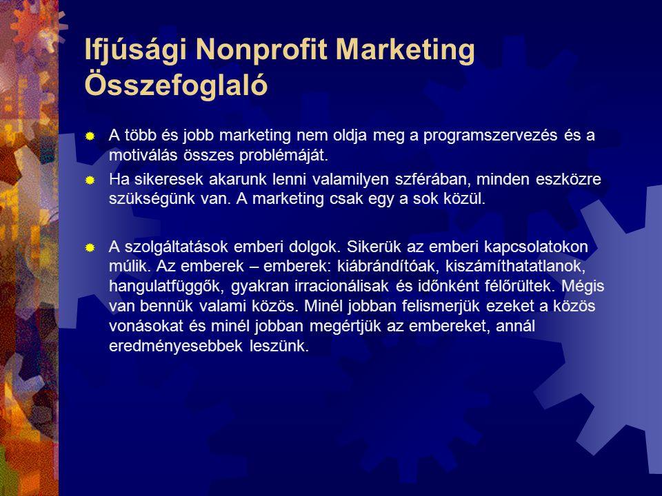 Ifjúsági Nonprofit Marketing Összefoglaló  A több és jobb marketing nem oldja meg a programszervezés és a motiválás összes problémáját.  Ha sikerese