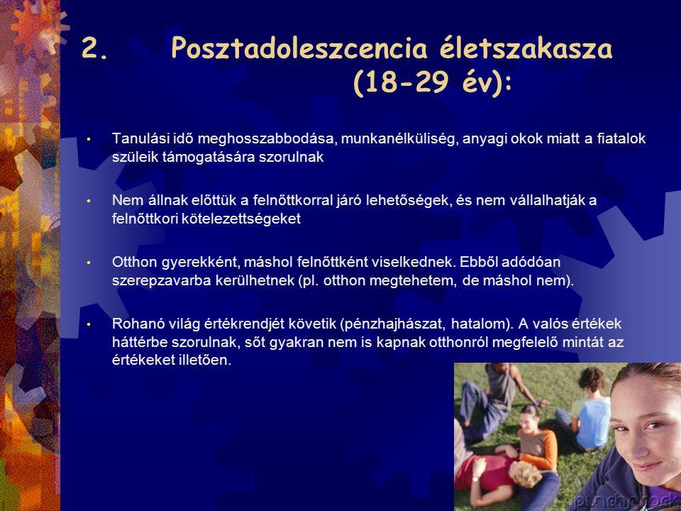2. Posztadoleszcencia életszakasza (18-29 év): • Tanulási idő meghosszabbodása, munkanélküliség, anyagi okok miatt a fiatalok szüleik támogatására szo