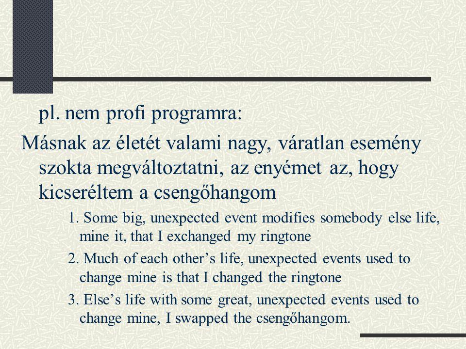 Összefoglalás helyett Önlektorálás – a forrásszöveg hatása (szóhasználatban, mondatszerkesztésben – a magyar nyelv jellege, szerkezete nagyon eltér az indoeurópaitól) Egy fordítónak mindenhez kell értenie, és minden kommunikációs helyzetben helyt kell állnia!