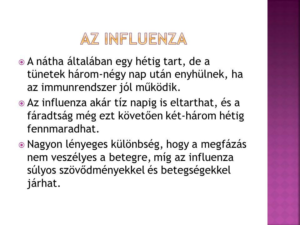  A nátha általában egy hétig tart, de a tünetek három-négy nap után enyhülnek, ha az immunrendszer jól működik.  Az influenza akár tíz napig is elta