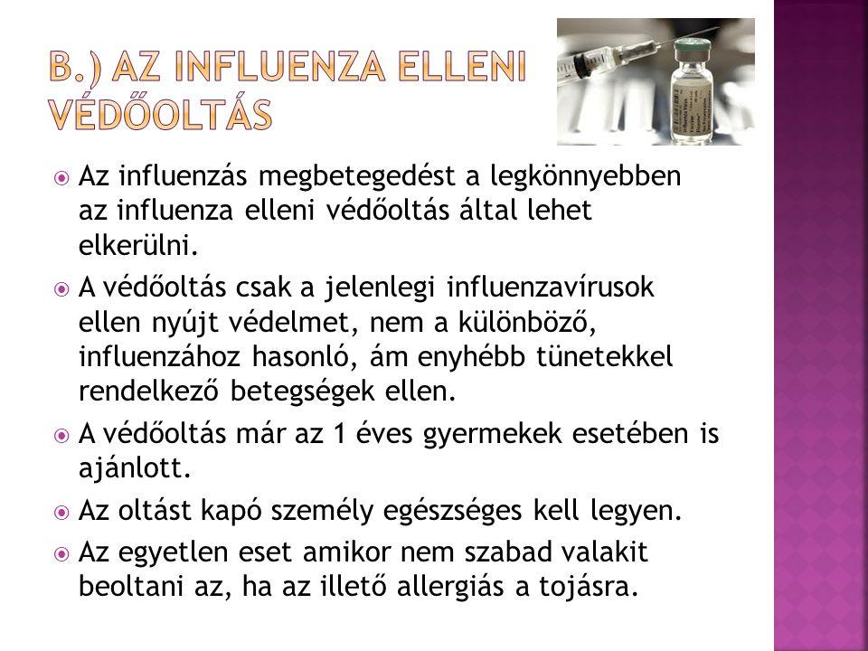  Az influenzás megbetegedést a legkönnyebben az influenza elleni védőoltás által lehet elkerülni.  A védőoltás csak a jelenlegi influenzavírusok ell