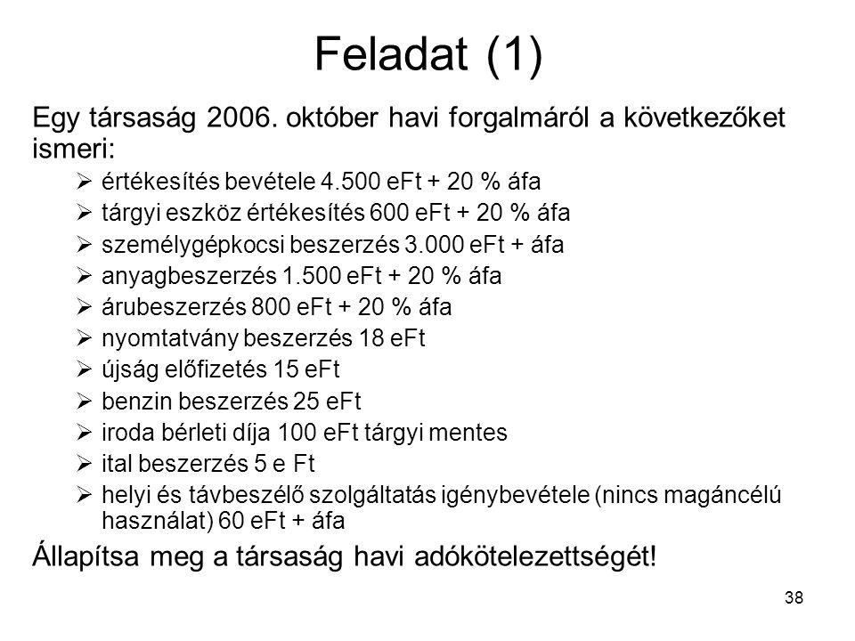 38 Feladat (1) Egy társaság 2006.