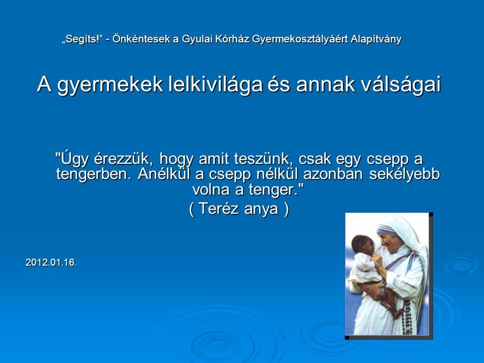 """""""Segíts!"""" - Önkéntesek a Gyulai Kórház Gyermekosztályáért Alapítvány """"Segíts!"""" - Önkéntesek a Gyulai Kórház Gyermekosztályáért Alapítvány A gyermekek"""