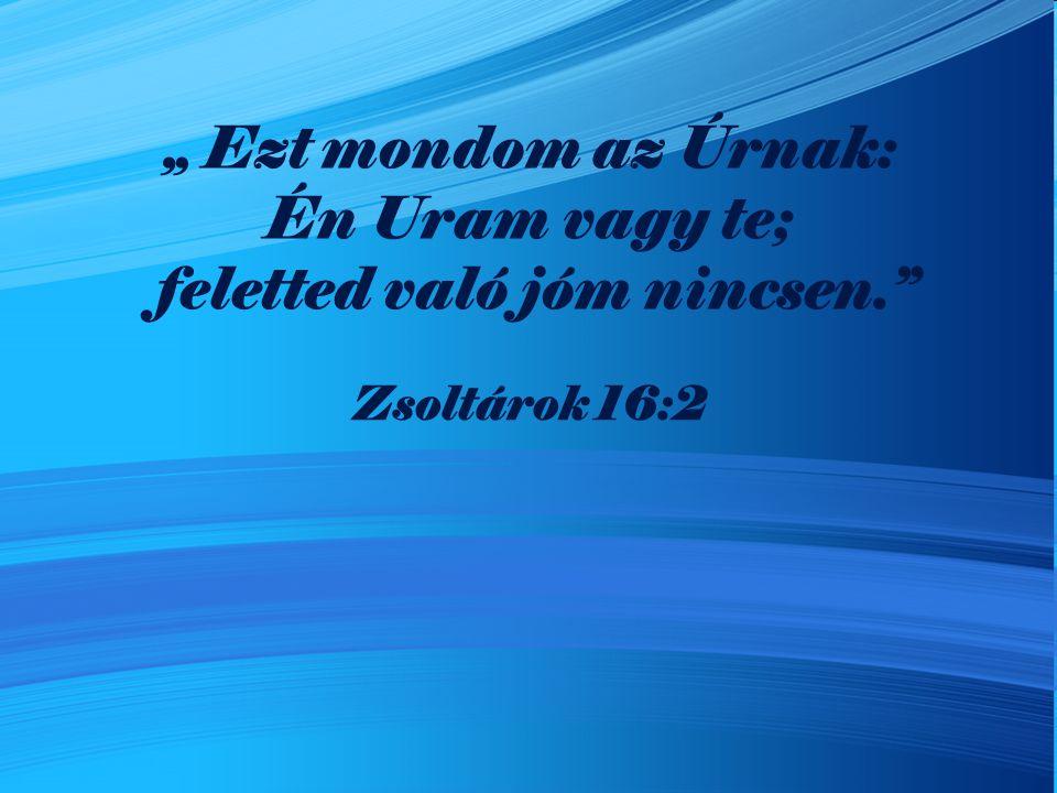 """"""" Ezt mondom az Úrnak: Én Uram vagy te; feletted való jóm nincsen."""" Zsoltárok 16:2"""