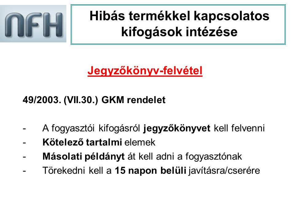 Hibás termékkel kapcsolatos kifogások intézése Jegyzőkönyv-felvétel 49/2003. (VII.30.) GKM rendelet -A fogyasztói kifogásról jegyzőkönyvet kell felven