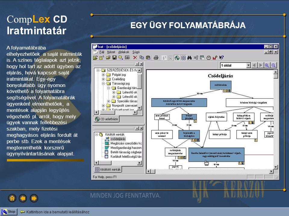 Kattintson ide a bemutató leállításához Stop Comp Lex CD Iratmintatár A folyamatábrába elhelyezhetőek a saját iratminták is. A színes téglalapok azt j