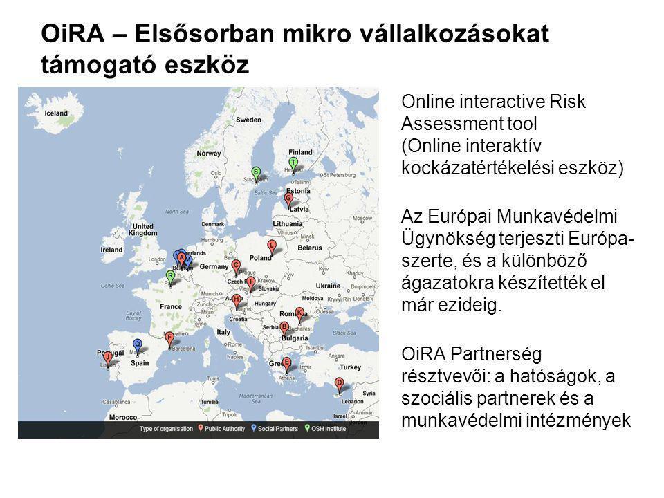 OiRA – Elsősorban mikro vállalkozásokat támogató eszköz Online interactive Risk Assessment tool (Online interaktív kockázatértékelési eszköz) Az Európai Munkavédelmi Ügynökség terjeszti Európa- szerte, és a különböző ágazatokra készítették el már ezideig.