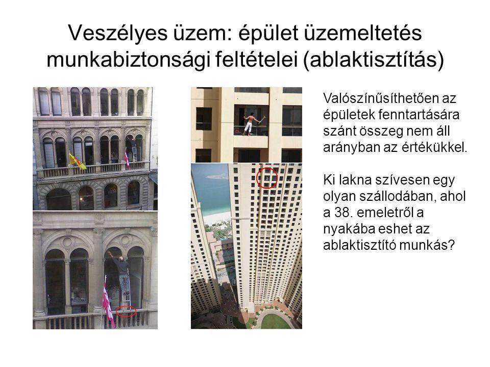 Veszélyes üzem: épület üzemeltetés munkabiztonsági feltételei (ablaktisztítás) Valószínűsíthetően az épületek fenntartására szánt összeg nem áll arányban az értékükkel.