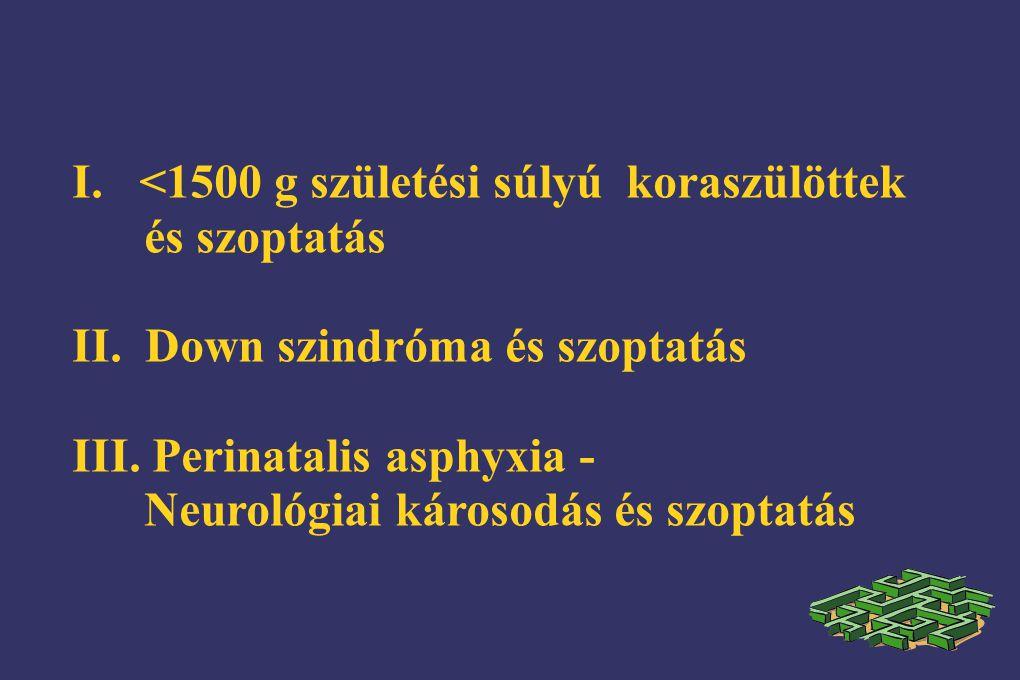 I. <1500 g születési súlyú koraszülöttek és szoptatás II. Down szindróma és szoptatás III. Perinatalis asphyxia - Neurológiai károsodás és szoptatás