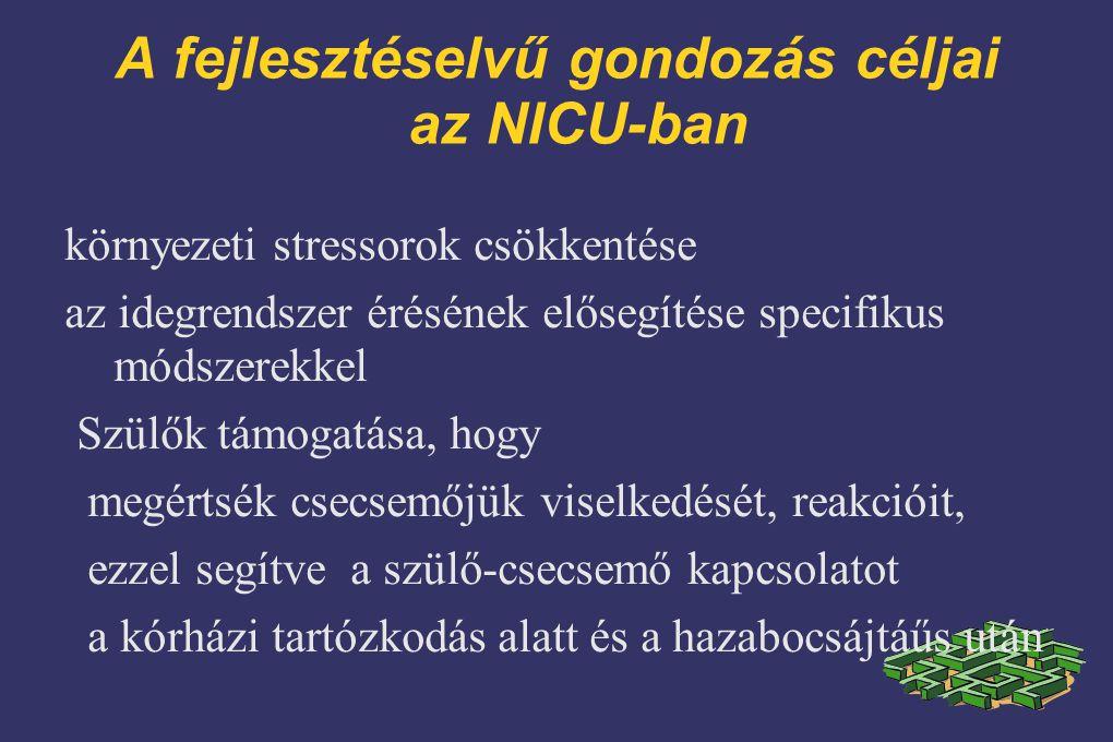 A fejlesztéselvű gondozás céljai az NICU-ban környezeti stressorok csökkentése az idegrendszer érésének elősegítése specifikus módszerekkel Szülők támogatása, hogy megértsék csecsemőjük viselkedését, reakcióit, ezzel segítve a szülő-csecsemő kapcsolatot a kórházi tartózkodás alatt és a hazabocsájtáűs után