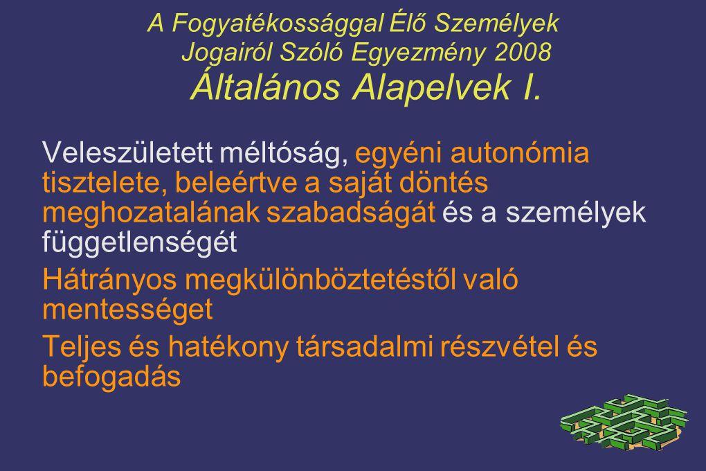 A Fogyatékossággal Élő Személyek Jogairól Szóló Egyezmény 2008 Általános Alapelvek I. Veleszületett méltóság, egyéni autonómia tisztelete, beleértve a