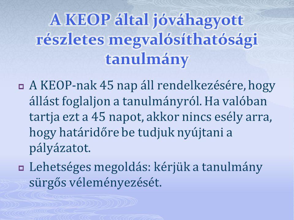  A KEOP-nak 45 nap áll rendelkezésére, hogy állást foglaljon a tanulmányról.