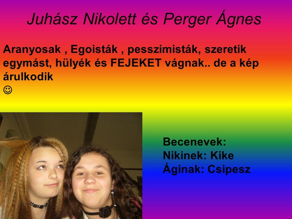 Juhász Nikolett és Perger Ágnes Aranyosak, Egoisták, pesszimisták, szeretik egymást, hülyék és FEJEKET vágnak..