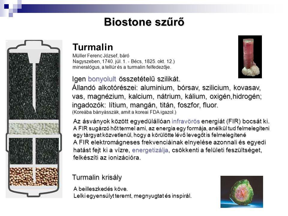 Turmalin krisály Igen bonyolult összetételű szilikát. Állandó alkotórészei: aluminium, bórsav, szilicium, kovasav, vas, magnézium, kalcium, nátrium, k