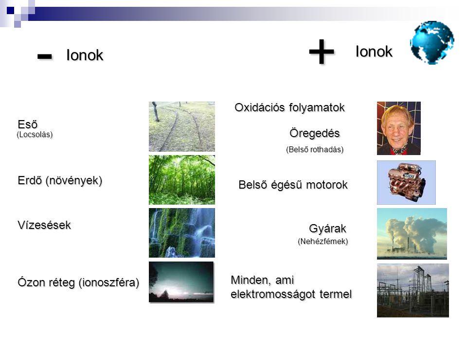 +-Ionok Ionok Vízesések Erdő (növények) Ózon réteg (ionoszféra) Oxidációs folyamatok Öregedés (Belső rothadás) Belső égésű motorok Minden, ami elektro