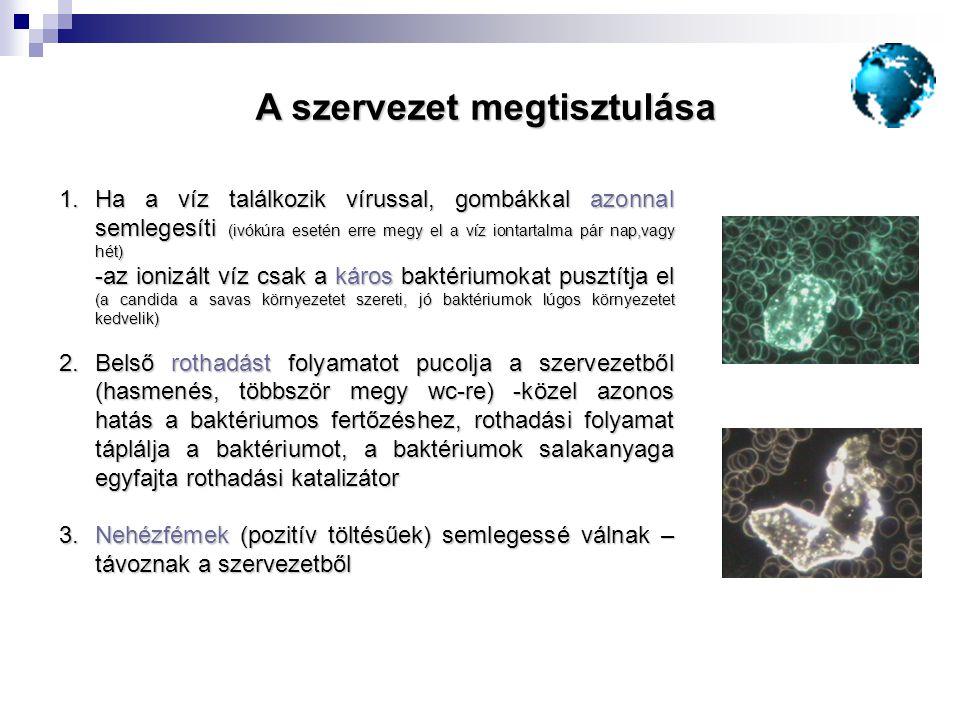 1.Ha a víz találkozik vírussal, gombákkal azonnal semlegesíti (ivókúra esetén erre megy el a víz iontartalma pár nap,vagy hét) -az ionizált víz csak a