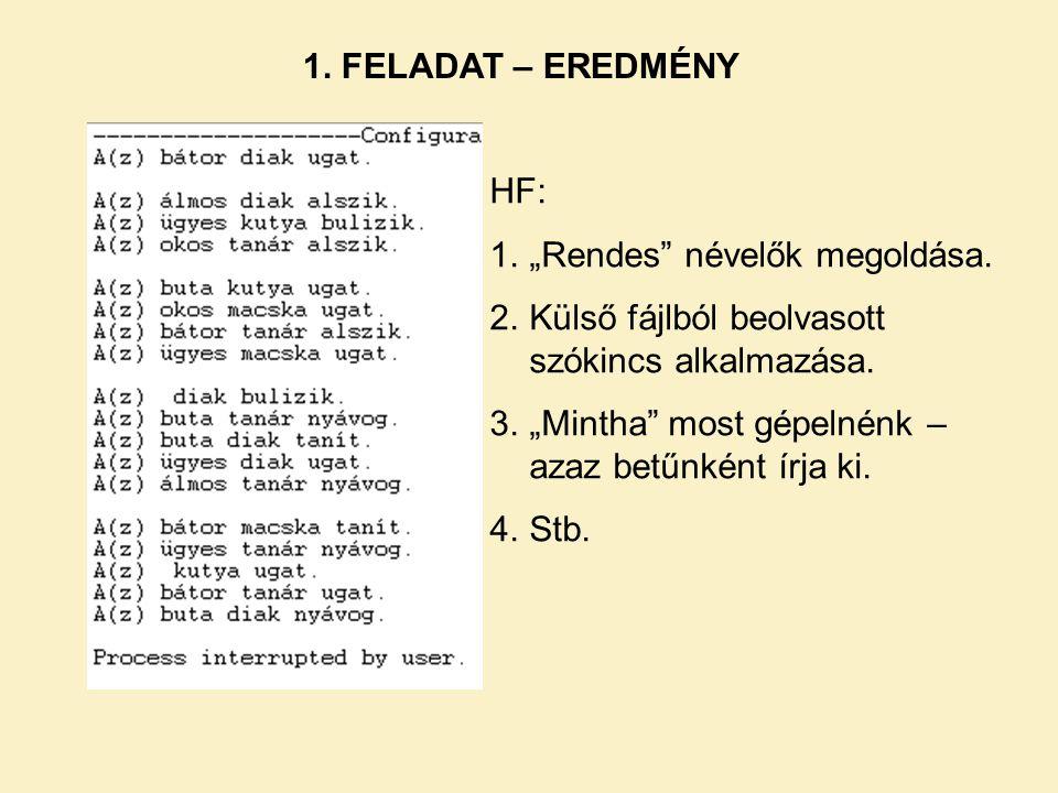 """1. FELADAT – EREDMÉNY HF: 1.""""Rendes"""" névelők megoldása. 2.Külső fájlból beolvasott szókincs alkalmazása. 3.""""Mintha"""" most gépelnénk – azaz betűnként ír"""