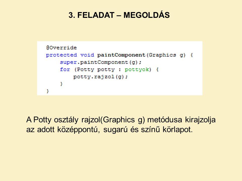 3. FELADAT – MEGOLDÁS A Potty osztály rajzol(Graphics g) metódusa kirajzolja az adott középpontú, sugarú és színű körlapot.