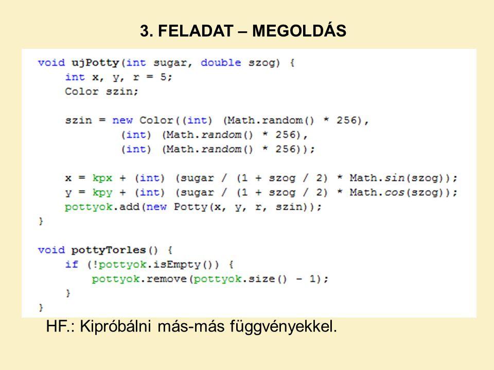 HF.: Kipróbálni más-más függvényekkel.