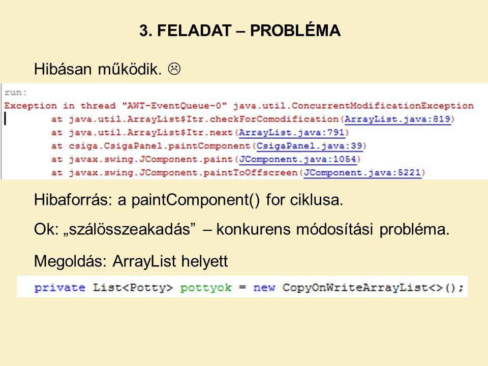 """3. FELADAT – PROBLÉMA Hibaforrás: a paintComponent() for ciklusa. Ok: """"szálösszeakadás"""" – konkurens módosítási probléma. Hibásan működik.  Megoldás:"""