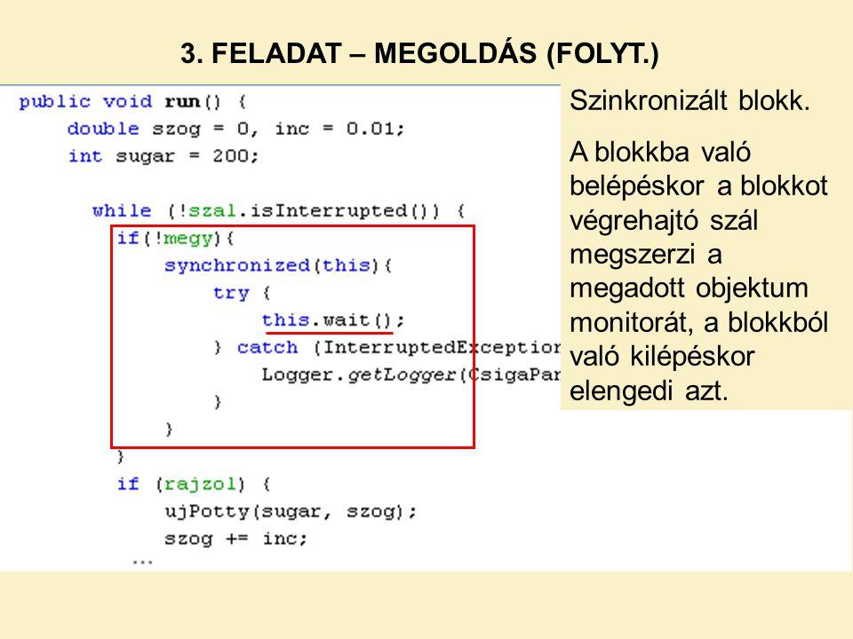 3. FELADAT – MEGOLDÁS (FOLYT.) Szinkronizált blokk. A blokkba való belépéskor a blokkot végrehajtó szál megszerzi a megadott objektum monitorát, a blo