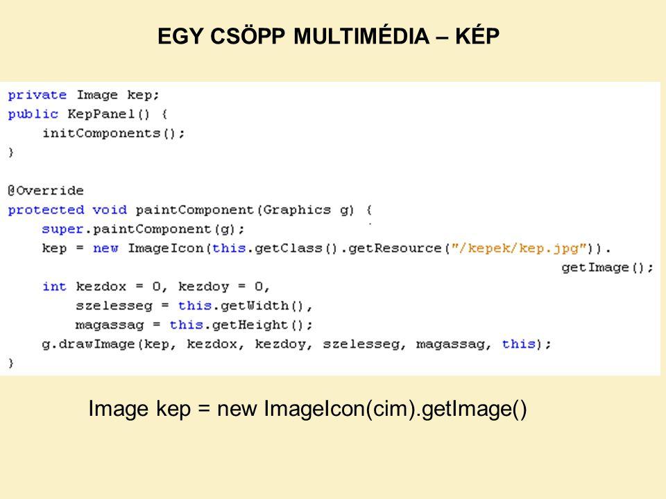 Image kep = new ImageIcon(cim).getImage() EGY CSÖPP MULTIMÉDIA – KÉP