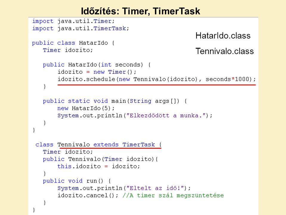 Időzítés: Timer, TimerTask HatarIdo.class Tennivalo.class