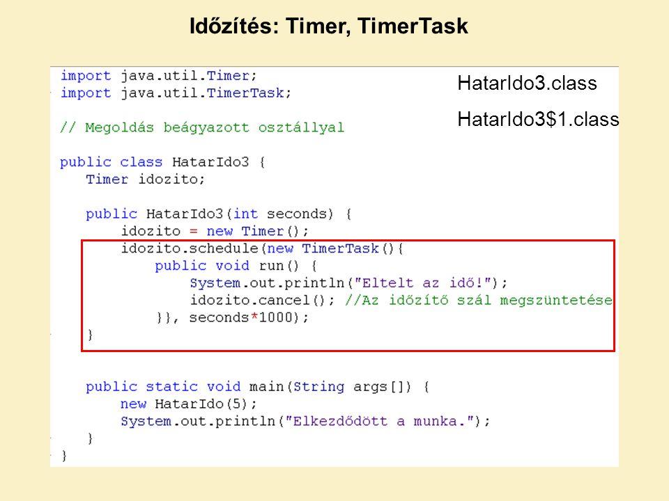 Időzítés: Timer, TimerTask HatarIdo3.class HatarIdo3$1.class