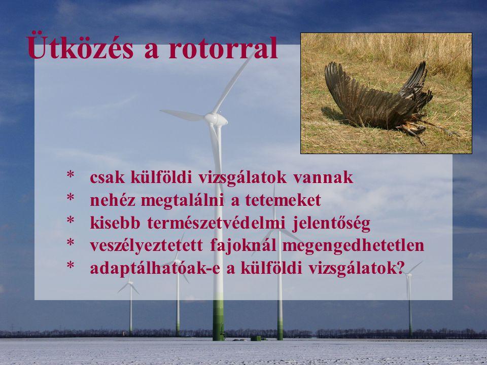 Ütközés a rotorral * csak külföldi vizsgálatok vannak * nehéz megtalálni a tetemeket * kisebb természetvédelmi jelentőség * veszélyeztetett fajoknál m