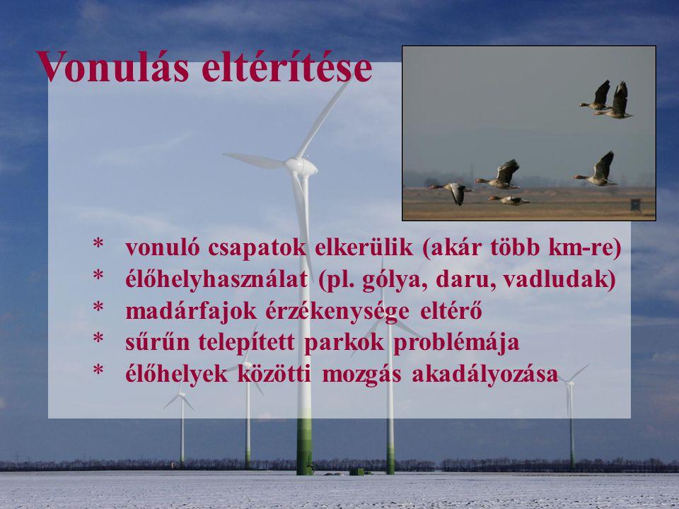 Vonulás eltérítése * vonuló csapatok elkerülik (akár több km-re) * élőhelyhasználat (pl. gólya, daru, vadludak) * madárfajok érzékenysége eltérő * sűr