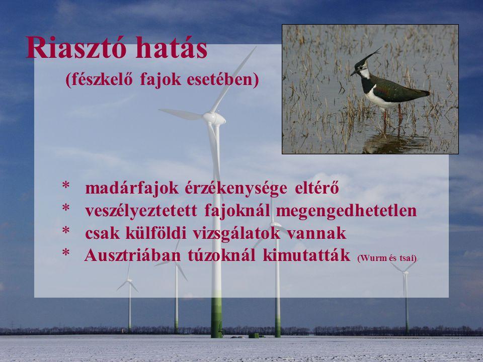 Riasztó hatás * madárfajok érzékenysége eltérő * veszélyeztetett fajoknál megengedhetetlen * csak külföldi vizsgálatok vannak * Ausztriában túzoknál k