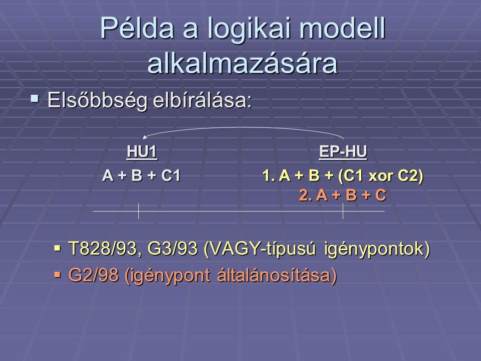 Példa a logikai modell alkalmazására  Elsőbbség elbírálása:  T828/93, G3/93 (VAGY-típusú igénypontok)  G2/98 (igénypont általánosítása) EP-HU 1.