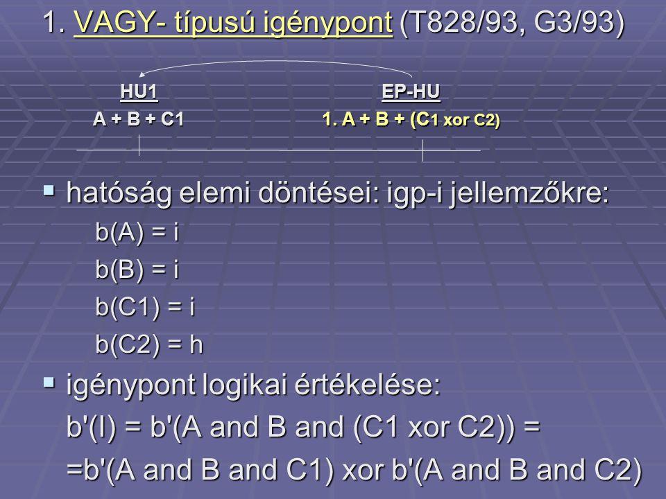 1. VAGY- típusú igénypont (T828/93, G3/93)  hatóság elemi döntései: igp-i jellemzőkre: b(A) = i b(B) = i b(C1) = i b(C2) = h  igénypont logikai érté
