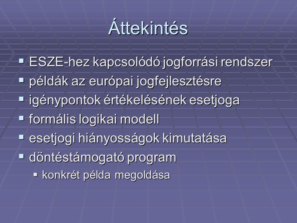 Áttekintés  ESZE-hez kapcsolódó jogforrási rendszer  példák az európai jogfejlesztésre  igénypontok értékelésének esetjoga  formális logikai modell  esetjogi hiányosságok kimutatása  döntéstámogató program  konkrét példa megoldása