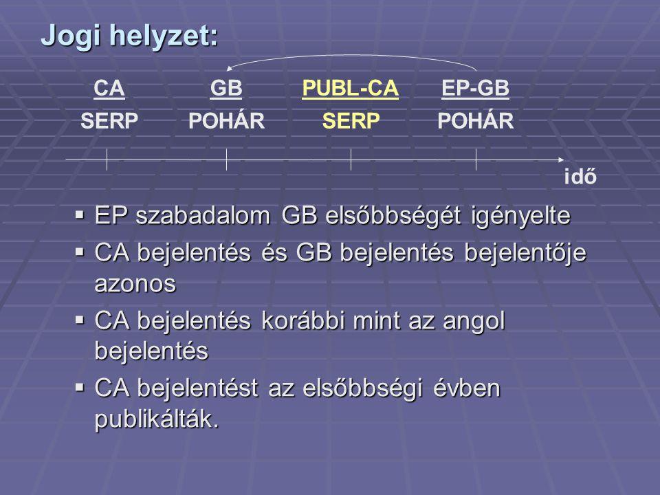  EP szabadalom GB elsőbbségét igényelte  CA bejelentés és GB bejelentés bejelentője azonos  CA bejelentés korábbi mint az angol bejelentés  CA bej