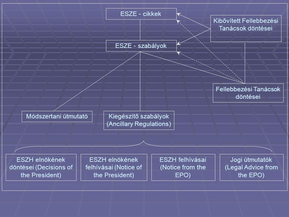 ESZE - cikkek ESZE - szabályok Fellebbezési Tanácsok döntései Kibővített Fellebbezési Tanácsok döntései Módszertani útmutatóKiegészítő szabályok (Ancillary Regulations) ESZH felhívásai (Notice from the EPO) ESZH elnökének felhívásai (Notice of the President) ESZH elnökének döntései (Decisions of the President) Jogi útmutatók (Legal Advice from the EPO)