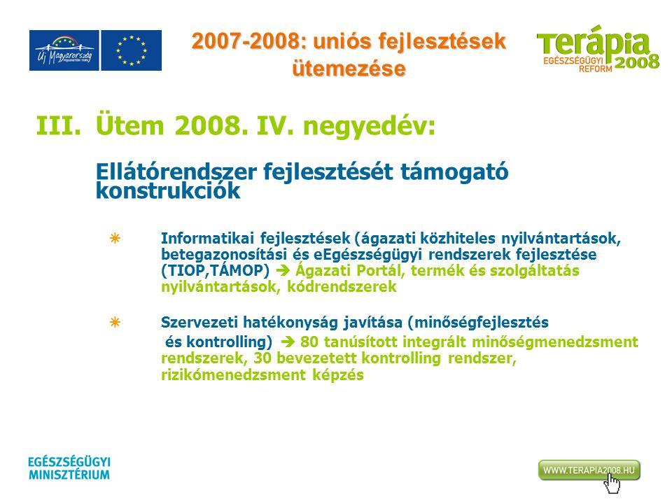 2007-2008: uniós fejlesztések ütemezése III.Ütem 2008. IV. negyedév: Ellátórendszer fejlesztését támogató konstrukciók  Informatikai fejlesztések (ág