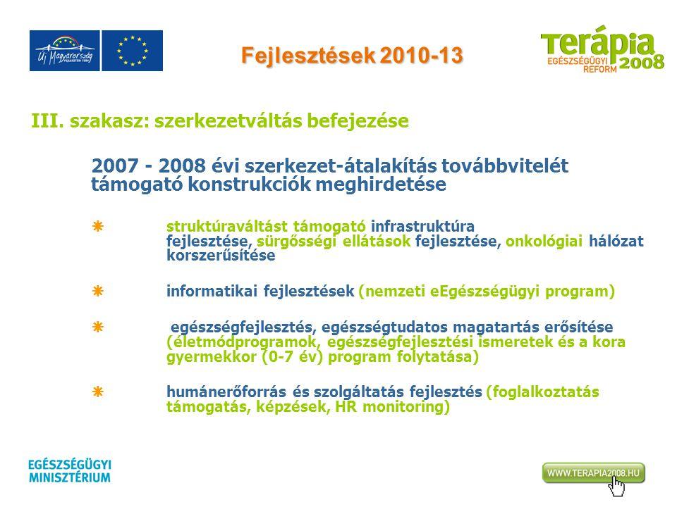 Fejlesztések 2010-13 III. szakasz: szerkezetváltás befejezése 2007 - 2008 évi szerkezet-átalakítás továbbvitelét támogató konstrukciók meghirdetése 