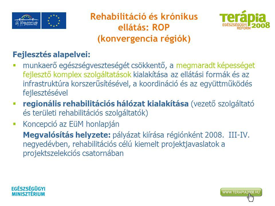 Rehabilitáció és krónikus ellátás: ROP (konvergencia régiók) Fejlesztés alapelvei:  munkaerő egészségveszteségét csökkentő, a megmaradt képességet fe