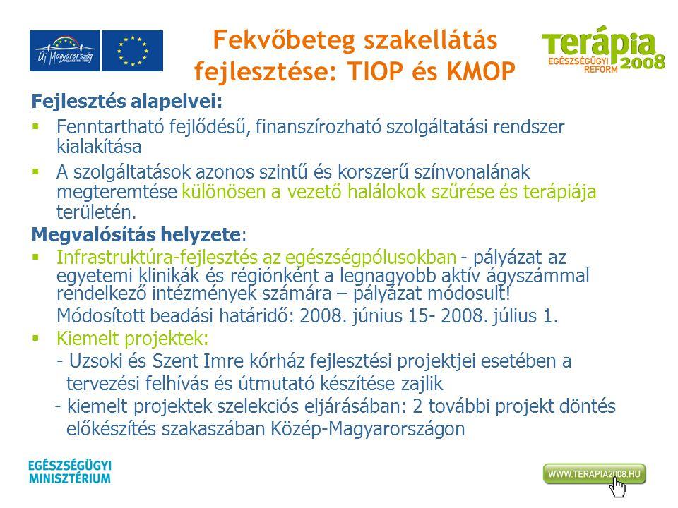 Fekvőbeteg szakellátás fejlesztése: TIOP és KMOP Fejlesztés alapelvei:  Fenntartható fejlődésű, finanszírozható szolgáltatási rendszer kialakítása 