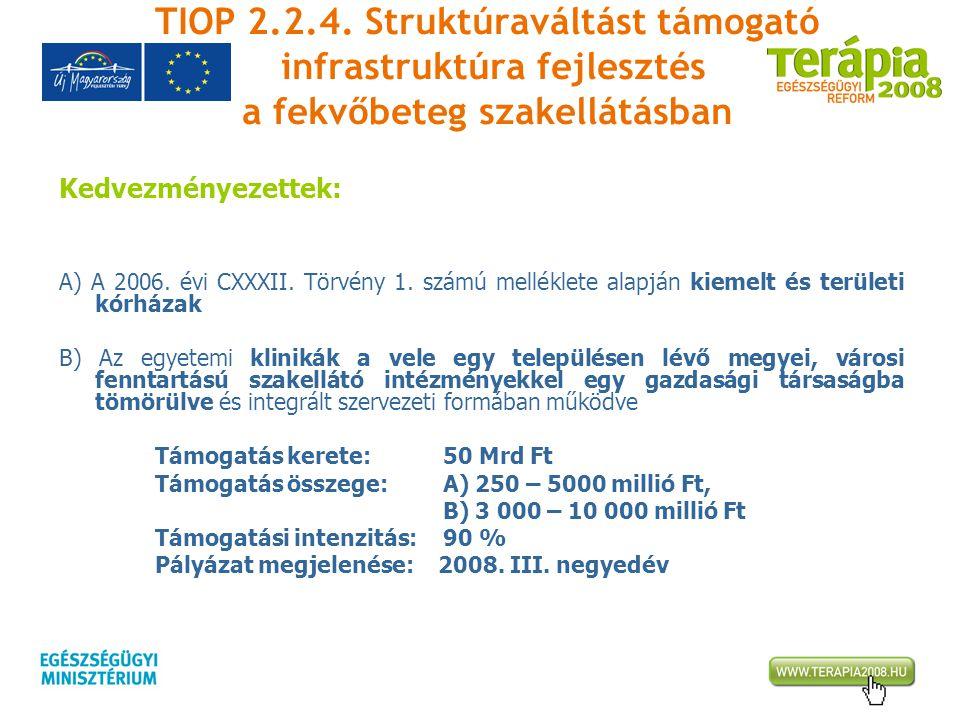 TIOP 2.2.4. Struktúraváltást támogató infrastruktúra fejlesztés a fekvőbeteg szakellátásban Kedvezményezettek: A) A 2006. évi CXXXII. Törvény 1. számú