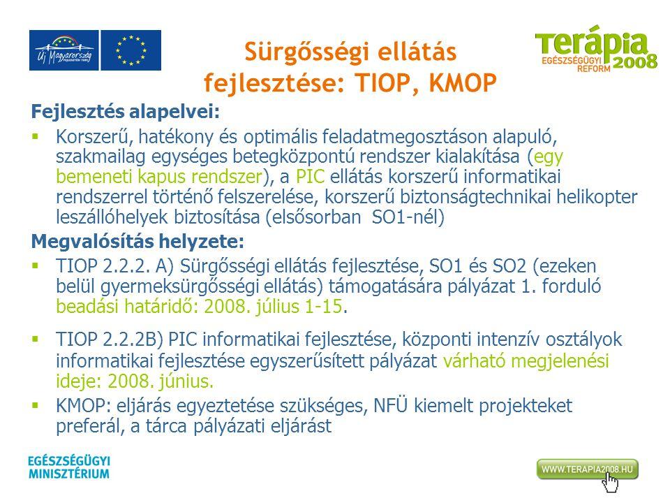 Sürgősségi ellátás fejlesztése: TIOP, KMOP Fejlesztés alapelvei:  Korszerű, hatékony és optimális feladatmegosztáson alapuló, szakmailag egységes bet