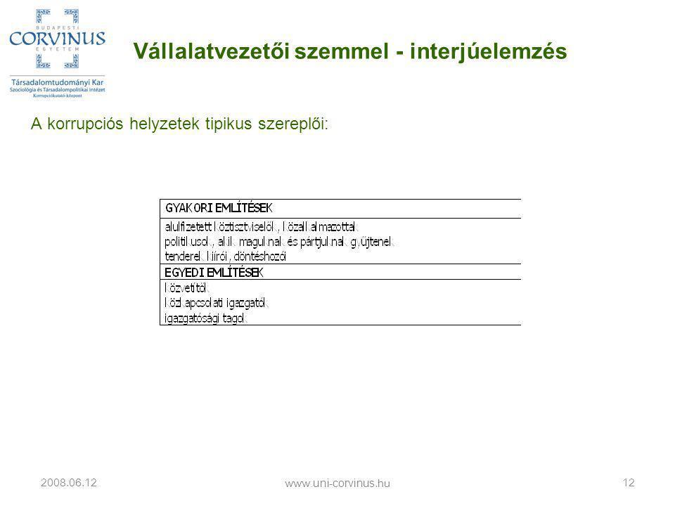 A korrupciós helyzetek tipikus szereplői: 2008.06.12 www.uni-corvinus.hu 12 Vállalatvezetői szemmel - interjúelemzés