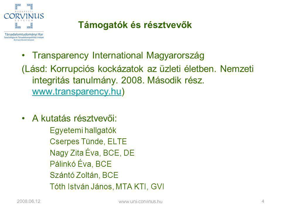 •Transparency International Magyarország (Lásd: Korrupciós kockázatok az üzleti életben.