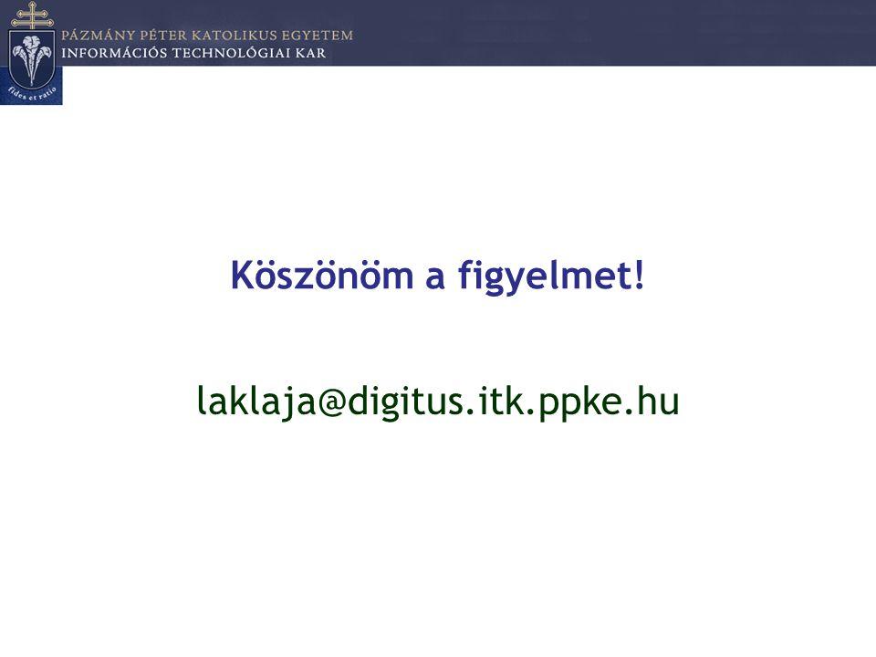 Köszönöm a figyelmet! laklaja@digitus.itk.ppke.hu