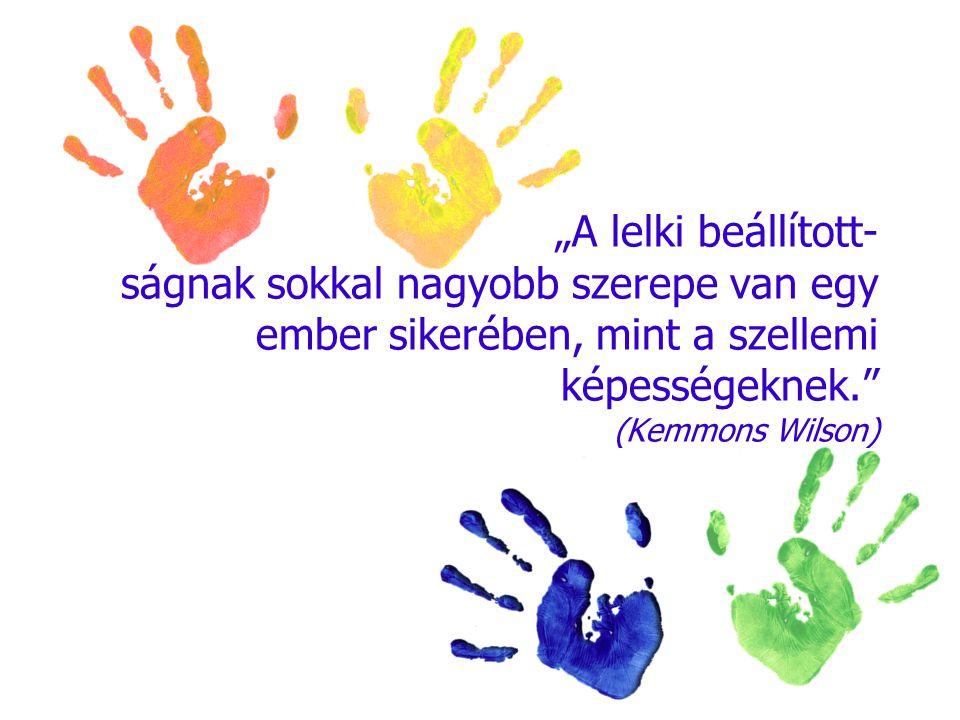 """""""A lelki beállított- ságnak sokkal nagyobb szerepe van egy ember sikerében, mint a szellemi képességeknek."""" (Kemmons Wilson)"""
