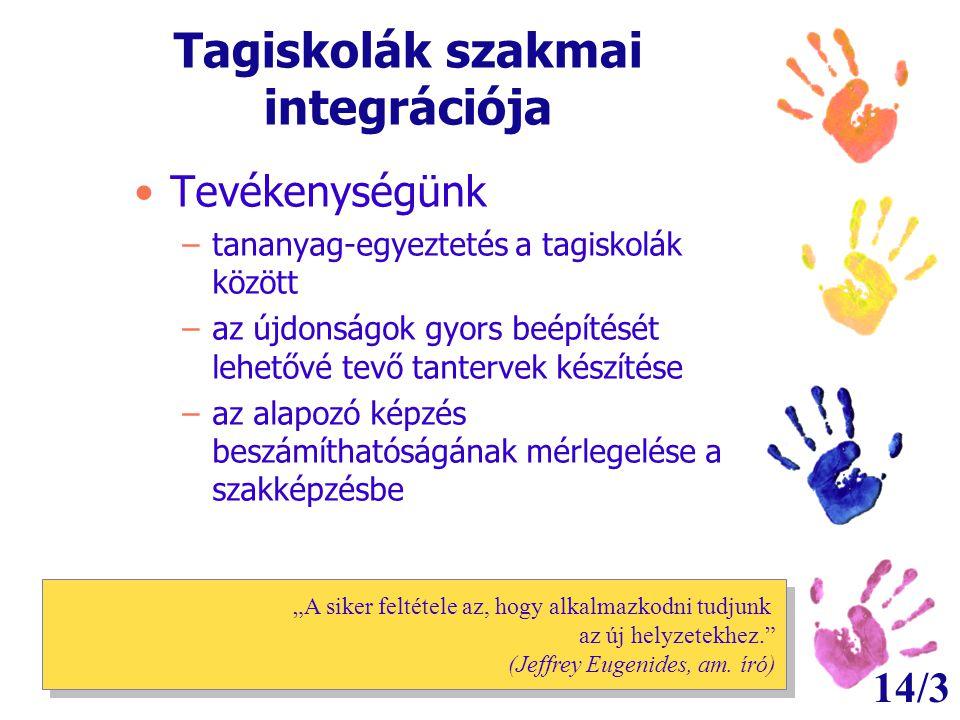 14/3 Tagiskolák szakmai integrációja •Tevékenységünk –tananyag-egyeztetés a tagiskolák között –az újdonságok gyors beépítését lehetővé tevő tantervek