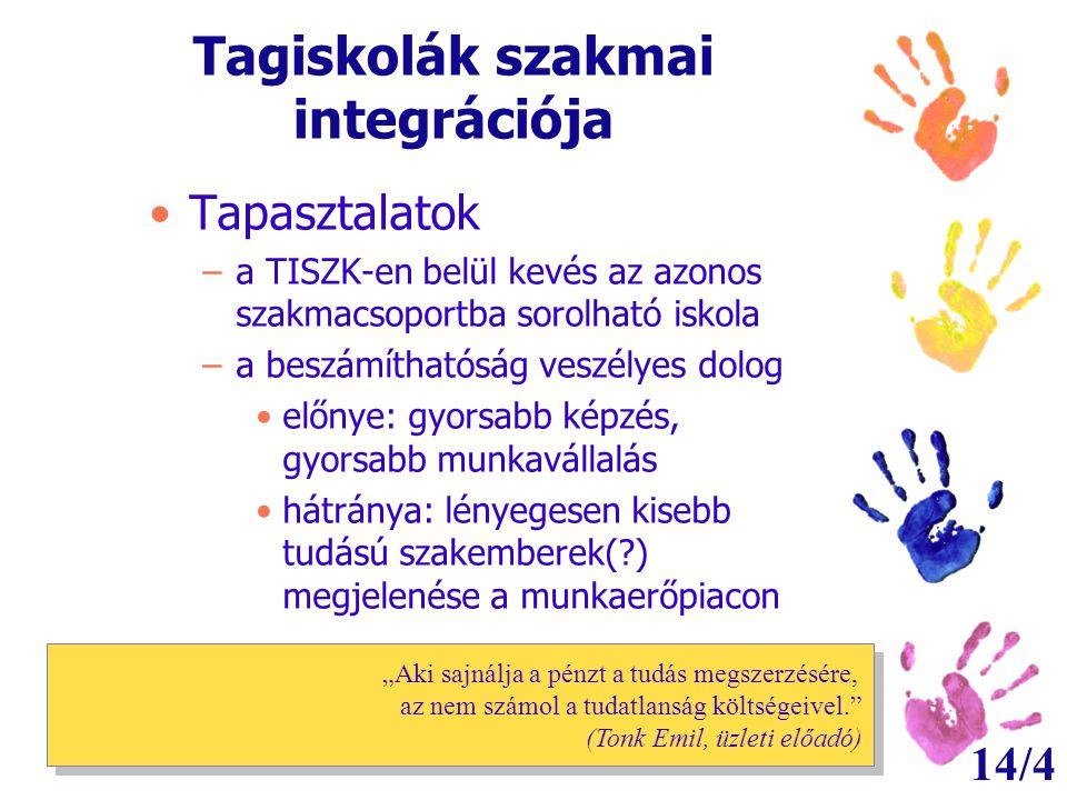 14/4 Tagiskolák szakmai integrációja •Tapasztalatok –a TISZK-en belül kevés az azonos szakmacsoportba sorolható iskola –a beszámíthatóság veszélyes do